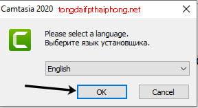 Lựa chọn ngôn ngữ cài đặt Camtasia